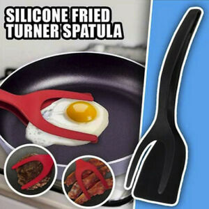 Grab Flip Fried Turner Spatula 2 In 1 Tongs Clamp Pancake Fried Egg French US