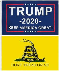 Trump 2020 and Gadsden Don't Tread on me 3x5 FT Combo Pack (2 Flags)