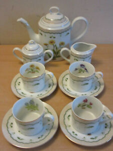 Georges Briard Victorian Garden Porcelain Tea Set Tea pot creamer sugar bowl $75.00