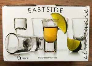 Circleware Eastside Clear Heavy Base Glass Shot Glass Set, 2 Ounce, Set of 6,