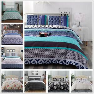 3 Piece Printed Duvet Cover Set Quilt Bed Cover Bedding Set Queen King