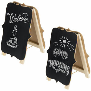MyGift Decorative A-Frame Double-Sided Wood Chalkboard Signs, Set of 2