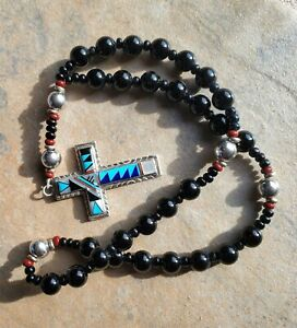 MY Stamp Coral Jet Turquoise MOP Lapis Lazuli Sterling Silver Anglican Beads $250.00