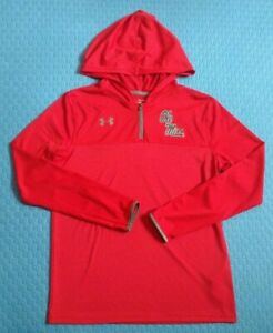 Under Armour Ole Miss Women Youth XL Red HeatGear Hoodie Pullover Light Wt Loose $22.29