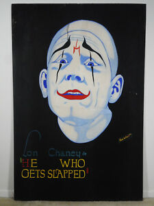 HE WHO GETS SLAPPED 1924 LON CHANEY * ORIGINAL ALVIN WOLFSON HAND PAINTED POSTER