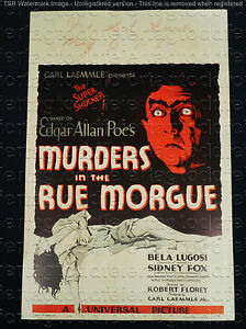 MURDERS IN THE RUE MORGUE 1932 * BELA LUGOSI * CLASSIC UNIVERSAL HORROR POSTER!!