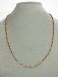 FINE 14K Yellow + White Gold Solid Chain Necklace 20