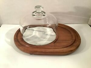 Vintage Teak Wood & Marble Tile Cheese Cutting & Serving Board w/Glass Dome
