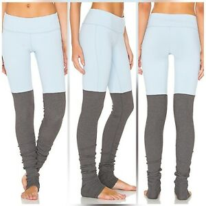 Women's Alo Yoga Goddess Leggings Rouched Ribbed Stretch Blue Gray medium