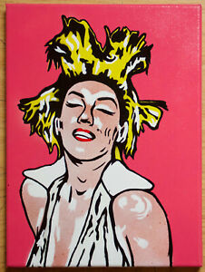 Marilyn Monroe Art Andy Warhol style Basquiat hair Pop ArtOriginal Signed