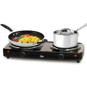 Small Electric Stove Top 2 Burners Range Double Hot Plate Portable Countertop US