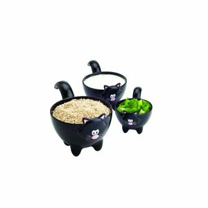Joie Meow Cat Stackable Kitchen Measuring Cups Set, Black or White