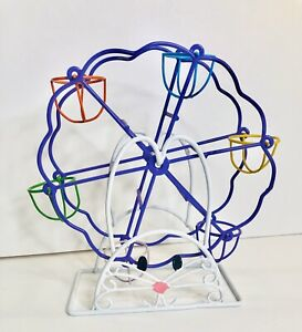 Easter Bunny Coated Wire Ferris Wheel Holds 6 Eggs or Mini Cupcakes 10 in high $22.99