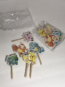 Pokemon 48 Pc Toothpicks Wooden Decorative Paper Cupcake Food Cake Toppers 649