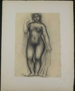 Antique 1948 Lithograph Black amp; White Standing Nude by Aristide Maillol Listed $300.00