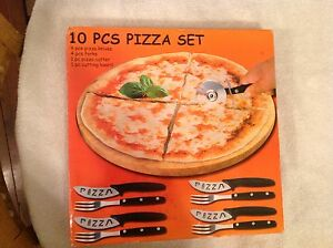 Fun 10 Piece Pizza Set Board Cutter Forks Knives Never Used Free US Shipping