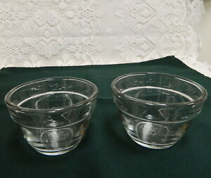 2 PAMPERED CHEF CLEAR GLASS MEASURING CUP PREP BOWLS
