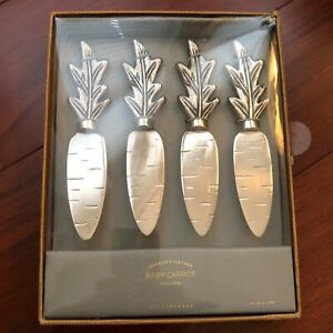 NIB Pottery Barn S/4 ~BABY CARROT~ Silver CHEESE KNIVES Spreader ~EASTER~
