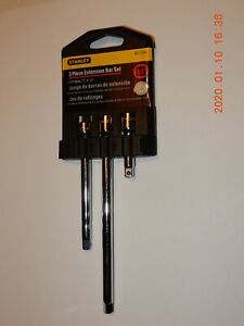 """1/4  Inch EXTENSION BAR SET  STANLEY 3 PIECE 1/4"""" DRIVE 2"""",4"""" 6"""" With Case"""