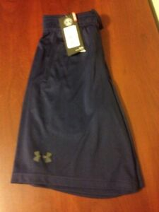 NWT Under Armour Boys Youth Loose Heat Gear Sport shorts Navy Blue XS S M L XL $14.99
