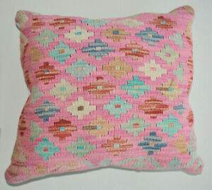 Pink Color Hand Knotted Kilim Cushion Cover with Filling For Rooms