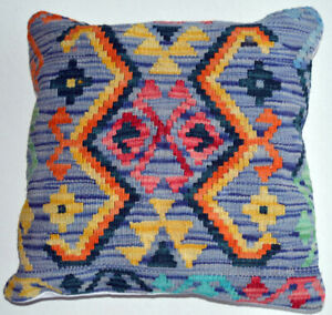 Multi Color Hand Made Kilim Cushion Cover with Filling Home
