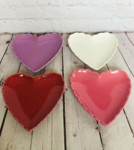 Williams Sonoma Heart Shape Candy Sweet Dish Valentines Day Set of Four