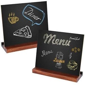 5X6 Inch Tabletop Chalkboard Signs with Vintage Rustic Style Wood Base (2 Pack)