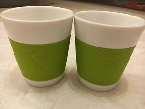 Bodum Pavina Porcelain Coffee Cup Lot of 2 w/Green Silicone Grip 4
