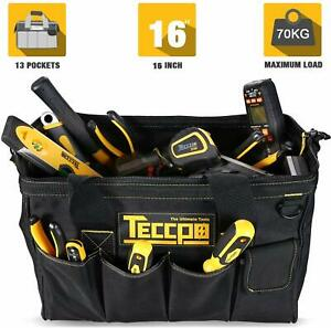 Tool Bag, TECCPO Tools Bag 18-inch Wide Mouth Big Tool Bag with High-end Embroid