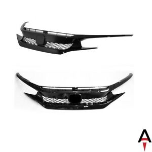 Type R Style Front Bumper Set w Glossy Black Grille for 16 18 Civic Coupe Sedan $59.49