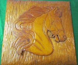 Vintage Hand Carved Wood Relief Wall Sculpture of Horse's Head Signed 1948