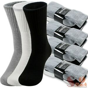 Lot 3 12 Pairs Mens Solid Sports Athletic Work Plain Crew Socks Size 9 11 10 13 $10.99