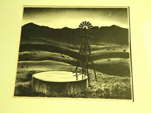 Peter Hurd Stone Lithograph quot;Stock well at duskquot; iconic print $135.00