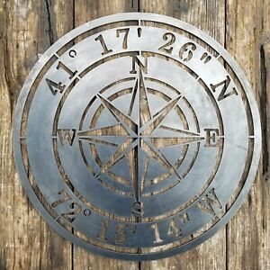 Personalized Compass Rose Metal Sign - Custom Coordinates - Nautical Address Wal