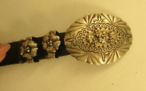VINTAGE SOUTHWEST LEATHER BELT WITH STERLING BUCKLE AND KEEPERS 39 1 2 $145.00