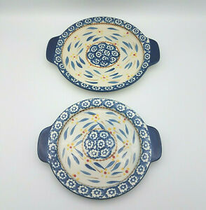 Temp tations Bakeware Platter Nesting Set Old World Blue Oven to Table 2 Pieces