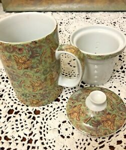 World Market Ceramic Tea Cup with Lid and Infuser Green Paisley Coffee Mug