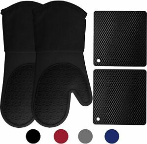 Silicone Oven Mitts and Pot Holders, 4-Piece Set, Heavy Duty Cooking Gloves,