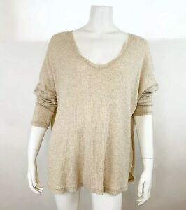 Out From Under Womens Oversized Thermal Top Tan Size Medium Lond Sleeve V Neck $17.99