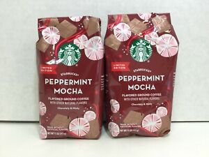 Starbucks Holiday Peppermint Mocha Flavored Ground Coffee 11 Oz., 2 Bags, 2020