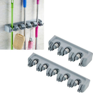 Wall Mount Mop Holder Hanger Hooks Kitchen Brush Broom Storage Rack Organizer US