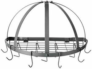 Old Dutch Half-Round Pot Rack with Grid & 12 Hooks, Graphite, (Graphite)