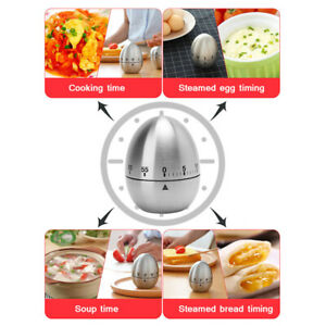 Stainless Steel Egg Shape Kitchen Time Cooking Dishes Gadget Timer  Manual Timer