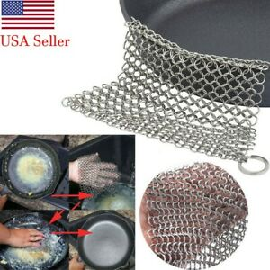 Stainless Steel Cast Iron Cleaner Brush Scrubber For Cast Iron Pan Cast 6*6inch