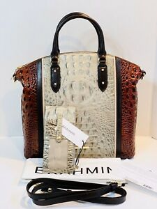 Brahmin Large Duxbury Hemlock Westwood Leather Satchel & Credit Card Wallet NWT