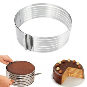 6.30quot; 7.87quot; Adjustable DIY Cake Round Cutter Stainless Steel Mousse Mold Slicer