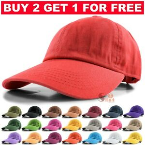 Baseball Cap Ball Dad Hat Adjustable Plain Solid Cotton Polo Washed Mens Womens $7.95