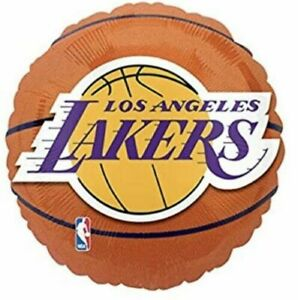 "18"" Los Angeles Lakers Mylar Foil Round Balloon Party Decoration Supply"