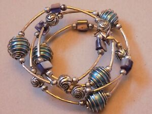 Vintage Costume Jewellery Bracelet Beads Charms Silver Blue